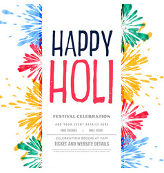 Traditional colorful happy holi splash backgorund vector