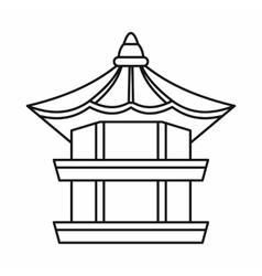 Traditional korean pagoda icon outline style vector