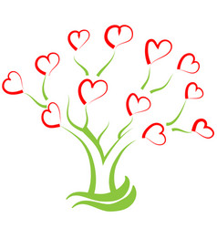 tree filled with hearts creative vector image