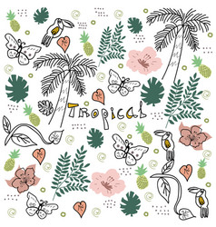 tropical jungle doodle style vector image