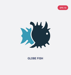 Two color globe fish icon from animals concept vector