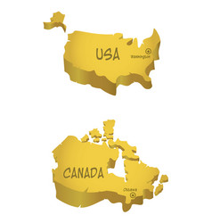 usa and canada maps vector image