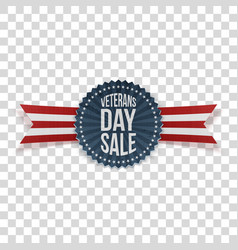 veterans day sale greeting label and ribbon vector image