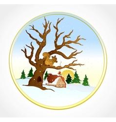 village winter landscape background vector image