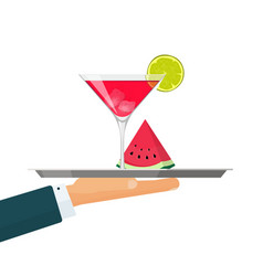waiter with tray cocktail drink glass vector image
