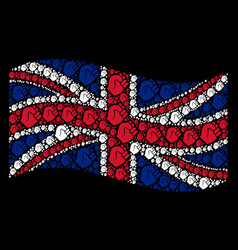 waving great britain flag collage of fist items vector image