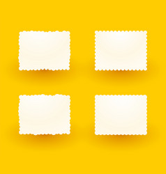 white decorative labels on yellow background vector image