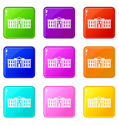white house usa icons 9 set vector image