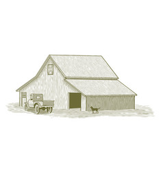 woodcut truck and barn vector image
