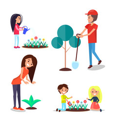 World environment day poster set people and plants vector
