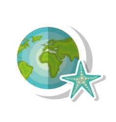 World map and seastar vector