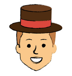 young man head with hat avatar character vector image