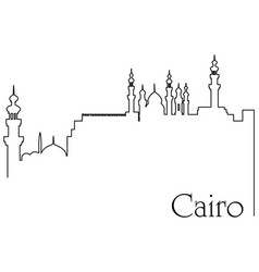 Cairo city one line drawing vector