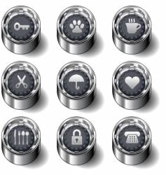 household object icons vector image