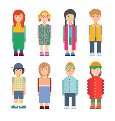 Set of characters in flat design vector