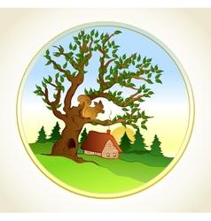 Village summer landscape background vector image