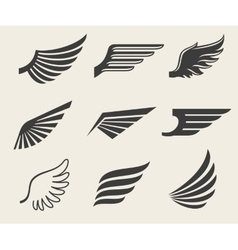 Wings icons set vector image vector image