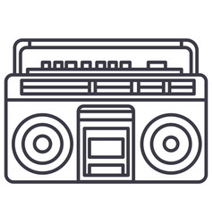 audio cassete player line icon sign vector image vector image