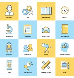 Business icons flat line set vector image