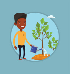 businessman watering trees vector image vector image
