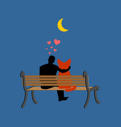 cat lover sitting on bench my kitty pet and guy vector image vector image