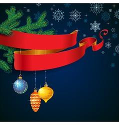ribbon christmas blue vector image