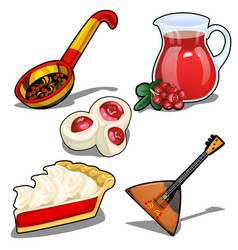 set in folk style balalaika spoon and other vector image vector image