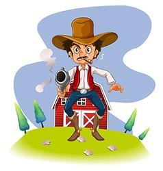 A cowboy with a gun vector image