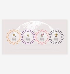 business infographics timeline with 4 gears vector image