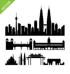 Kuala lumpur Malaysia landmark silhouettes vector image