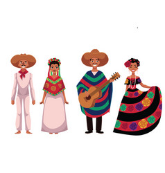 mexican people men and women in traditional vector image vector image