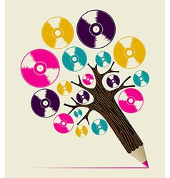 Retro music concept art tree vector image vector image