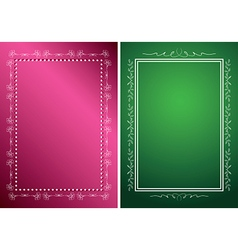 white frames on green and red backgrounds vector image
