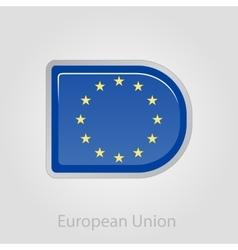 European Union flag button vector image