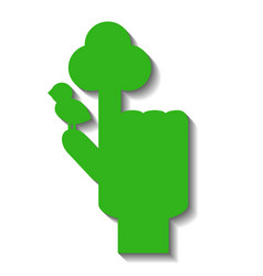 green hand with pointed finger with symbolic tree vector image