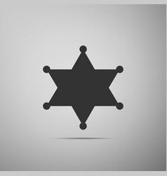 hexagram sheriff star badge flat icon on grey vector image