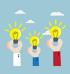 Human hand with bulb idea vector