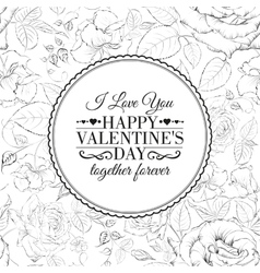 I love you card Over roses pattern vector image