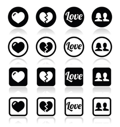 Love heart couple icons for Valentines day vector image vector image