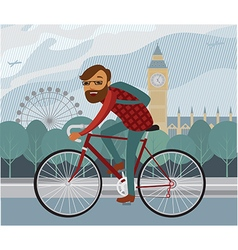 Young man hipster riding bike in London vector image vector image