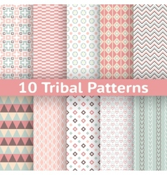 10 tribal seamless patterns tiling endless texture vector image