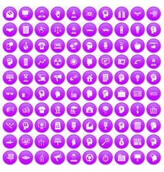 100 idea icons set purple vector