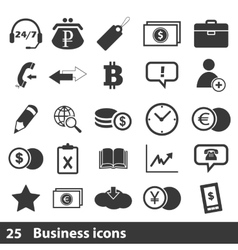 25 business icons set vector image