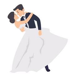 a just married couple dancing in the wedding vector image