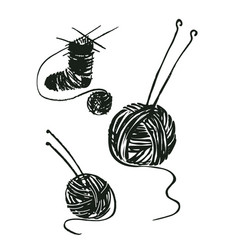 a set of drawings yarn ball image and spokes vector image