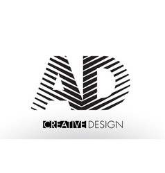 ad a d lines letter design with creative elegant vector image