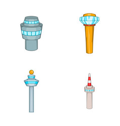 airport tower icon set cartoon style vector image