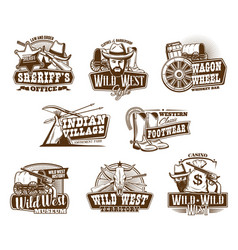 american western wild west vintage icons vector image
