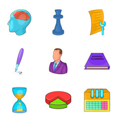 Approve the contract icons set cartoon style vector