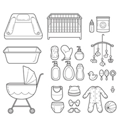 Baby icons set outline icons vector